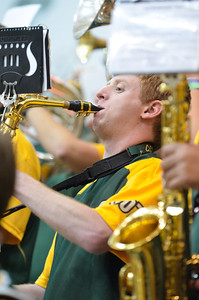 The Mustang A band performs during a basketball game against Fresno State. Nov. 19, 2012. Photo by Ian Billings