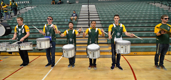 The Cal Poly Pep Band during a scriamge between the Cal Poly Stunt Team and Glendale College Apr. 6, 2013. Photo by Ian Billings