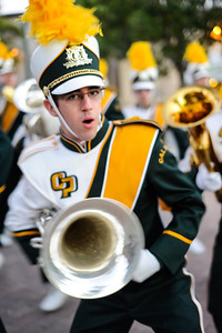 The Pride of the Pacific, the Cal Poly Mustang Marching Band before a game against Idaho State. Monday, Nov. 3, 2012. Photo by Ian Billings
