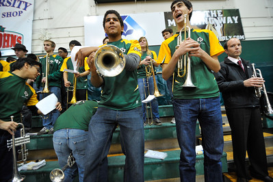 "The Mustang Pep Band ""B"" during a game versus Pacific. Jan 12, 2013. Photo by Ian Billings"