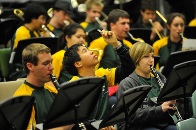 "The Mustang Pep Band ""B"" before a game versus Pacific. Jan 12, 2013. Photo by Ian Billings"