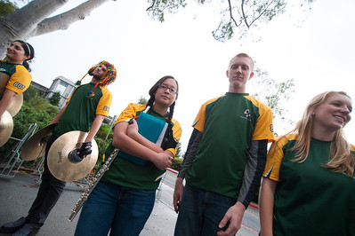 The Mustang Pep Band During a Cal Poly Women's Basketball game versus San Diego. Photo by Ian Billings