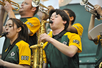 The Mustang Pep Band performs during a basketball game against Menlo College. Saturday, Dec. 8, 2012. Photo by Ian Billings