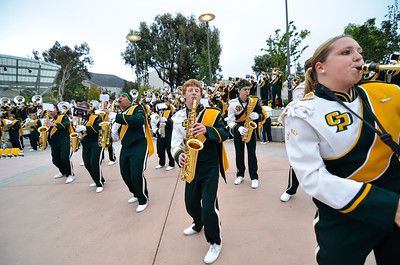 The Pride of the Pacific, the Cal Poly Mustang Marching Band before a game against Portland State. Oct. 20, 2012. Photo by Ian Billings