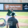 @calpolystangs freshman P Darren Nelson throws a warm-up pitch while big leaguer @thebud_norris bets a better look at his stuff. #AlumniGame #BigWestBaseball #CalPoly #CalPolyNow #CalPolyAlumni