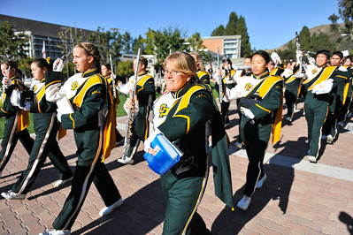 The Pride of the Pacific, the Mustang Marching Band, performs at the dedication of Warren J. Baker Center for Science and Mathematics. November 1, 2013. Photo by Ian Billings.