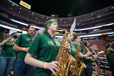 Cal Poly Spirit groups during the men's basketball  Big West Tournament semifinal in Anaheim, California. Mar. 14, 2014. Photo by Ian Billings
