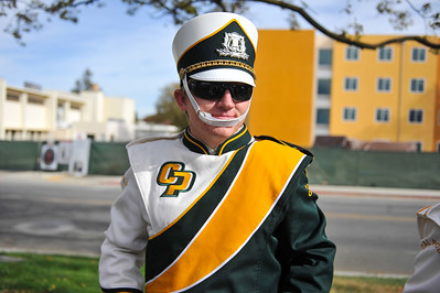 The Cal Poly Mustang Marching Band performs before the 2013 Battle for the Golden Horseshoe. November 2, 2013. Photo by Ian Billings.