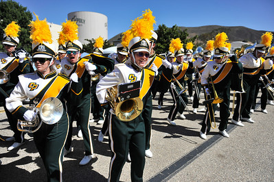The Pride of the Pacific, The Mustang Marching band plays for a football game vs Yale. October 5, 2013. Photo by Ian Billings