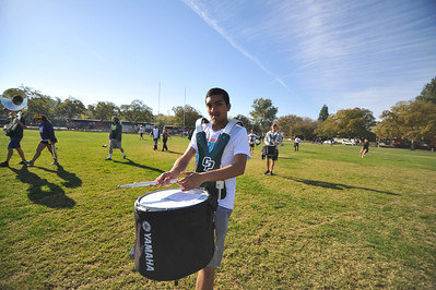 The Pride of the Pacific, the Mustang Marching Band, rehearses at UC Davis. November 2, 2013. Photo by Ian Billings.