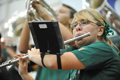 The Mustang Pep Band during a Men's Basketball vs Cal State Dominguez Hills. Dec. 14, 2013. Photo by Ian Billings