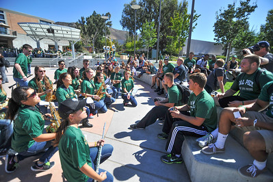 The Cal Poly Pep Band plays at a pep pally for the football game vs Yale. Taken October 3, 2013. Photo by Ian Billings
