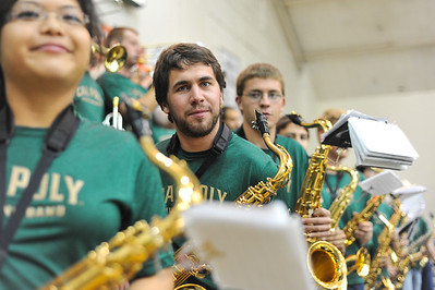 Pep Band A plays at a Women's Volleyball vs Hawai'i. November 8, 2013. Photo by Ian Billings.