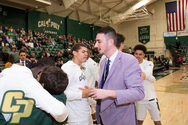 Cal Poly men's basketball hosted UC Irvine on Senior night at Mott Athletics Center in San Luis Obispo.  Photo by Owen Main 2/27/20