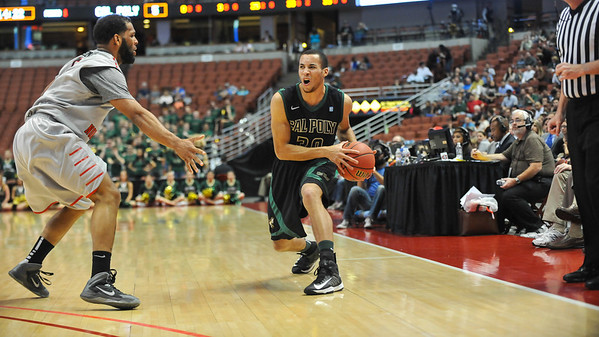Cal Poly men's basketball takes on CSU Northridge during the Big West Tournament championship in Anaheim, California. Mar. 15, 2014. Photo by Ian Billings