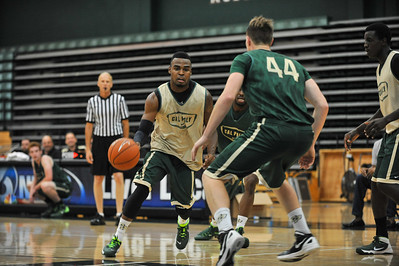The Cal Poly Men's Basketball Green vs Gold Scrimmage and Dunk Contest.  October 12, 2013. Photo by Ian Billings.