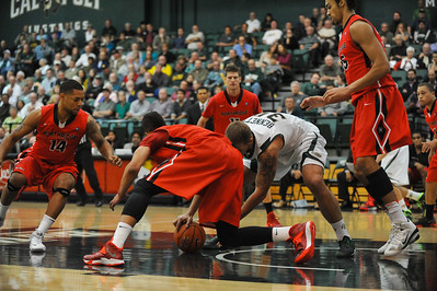 Cal Poly Men's Basketball takes on Cal State Northridge. The Mustangs won 62-52. Jan. 16, 2014. Photo by Ian Billings