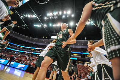 Cal Poly women's basketball takes on CSU Northridge during the Big West Tournament championship in Anaheim, California. Mar. 15, 2014. Photo by Ian Billings