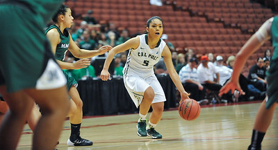 Cal Poly women's basketball takes on Hawaii during the Big West Tournament semifinal in Anaheim, California. Mar. 14, 2014. Photo By Ian Billings