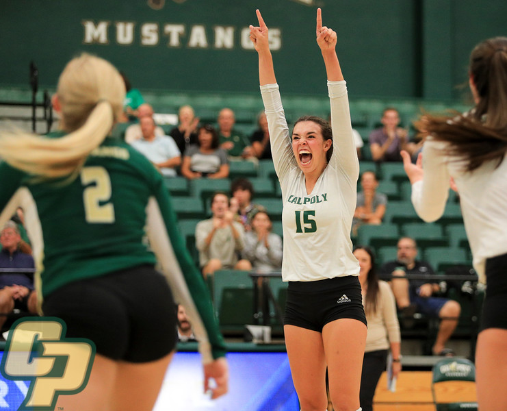 Cal Poly Volleyball hosted North Texas on the opening day of the ShareSLO Mustang Challenge. Photo by Owen Main 9/5/19