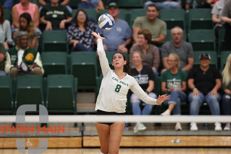 #22 Cal Poly hosted #9UCLA at Mott Athletics Center in San Luis Obispo. 9/6/187:19:36 PM <br /> <br /> Photo by Owen Main