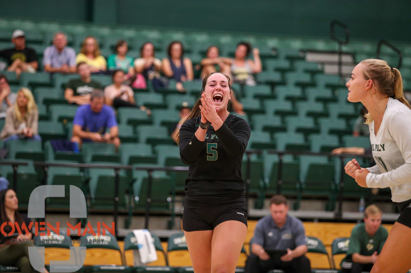 #22 Cal Poly hosted #9UCLA at Mott Athletics Center in San Luis Obispo. 9/6/186:58:01 PM <br /> <br /> Photo by Owen Main