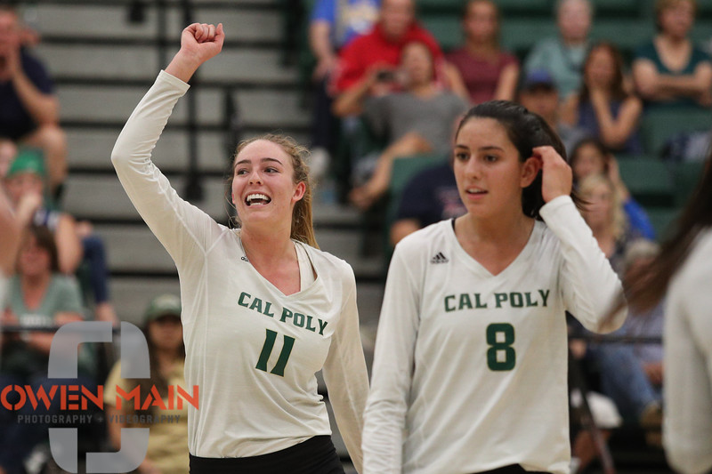 #22 Cal Poly hosted #9UCLA at Mott Athletics Center in San Luis Obispo. 9/6/187:37:53 PM <br /> <br /> Photo by Owen Main