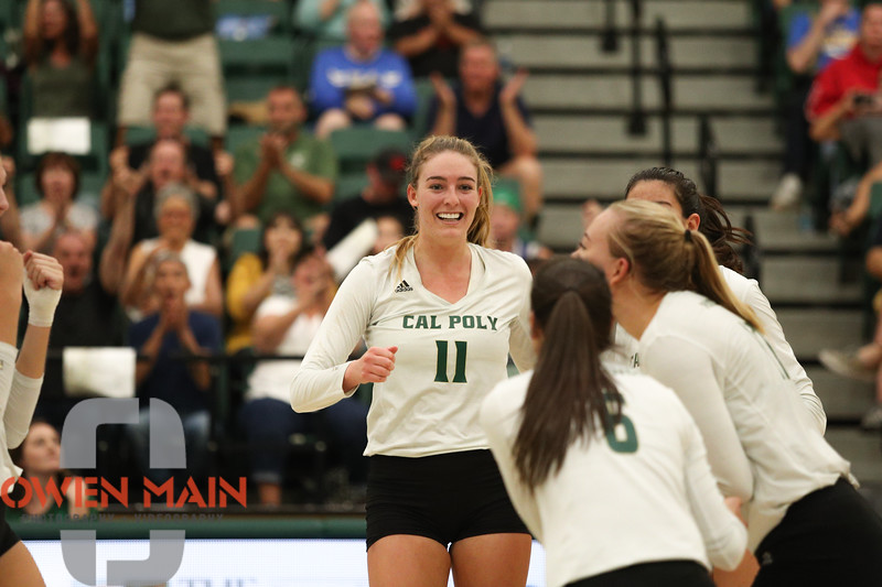 #22 Cal Poly hosted #9UCLA at Mott Athletics Center in San Luis Obispo. 9/6/187:36:44 PM <br /> <br /> Photo by Owen Main