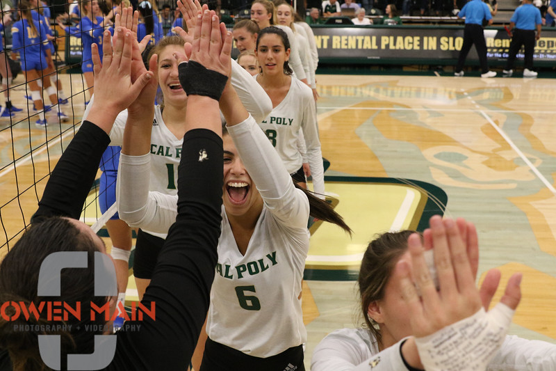 #22 Cal Poly hosted #9UCLA at Mott Athletics Center in San Luis Obispo. 9/6/188:56:45 PM <br /> <br /> Photo by Owen Main
