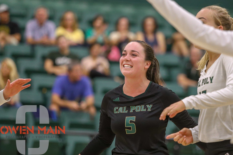 #22 Cal Poly hosted #9UCLA at Mott Athletics Center in San Luis Obispo. 9/6/186:58:02 PM <br /> <br /> Photo by Owen Main