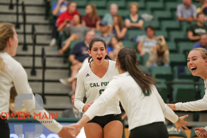 #22 Cal Poly hosted #9UCLA at Mott Athletics Center in San Luis Obispo. 9/6/187:38:16 PM <br /> <br /> Photo by Owen Main
