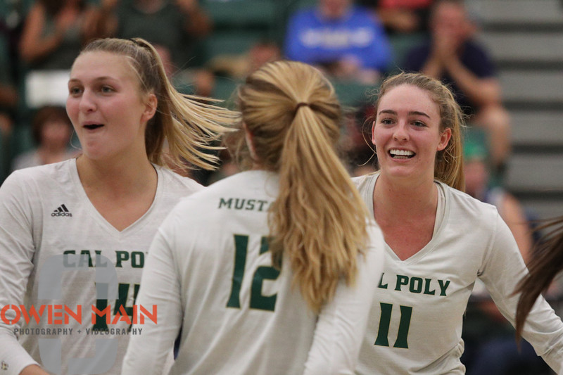 #22 Cal Poly hosted #9UCLA at Mott Athletics Center in San Luis Obispo. 9/6/187:37:26 PM <br /> <br /> Photo by Owen Main