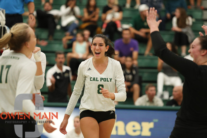 #22 Cal Poly hosted #9UCLA at Mott Athletics Center in San Luis Obispo. 9/6/187:12:32 PM <br /> <br /> Photo by Owen Main