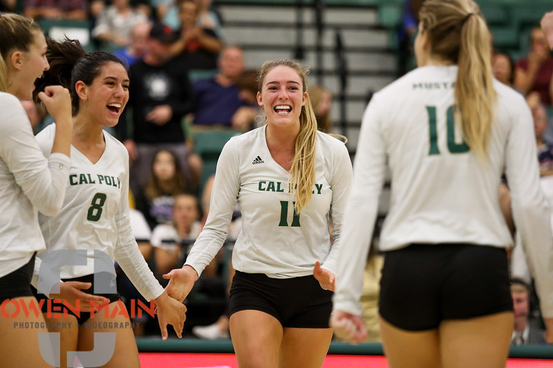 #22 Cal Poly hosted #9UCLA at Mott Athletics Center in San Luis Obispo. 9/6/186:58:26 PM <br /> <br /> Photo by Owen Main