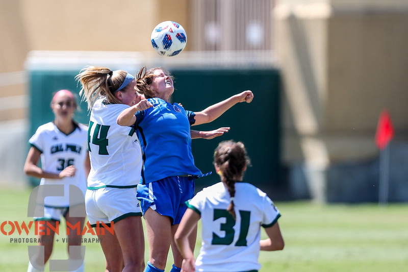 Cal Poly Women's Soccer played Boise State at Alex G. Spanos Stadium. 8/26/1811:11:16 AM <br /> <br /> Photo by Owen Main