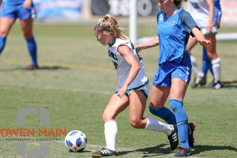Cal Poly Women's Soccer played Boise State at Alex G. Spanos Stadium. 8/26/1811:23:14 AM <br /> <br /> Photo by Owen Main