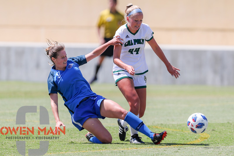 Cal Poly Women's Soccer played Boise State at Alex G. Spanos Stadium. 8/26/1811:06:42 AM <br /> <br /> Photo by Owen Main