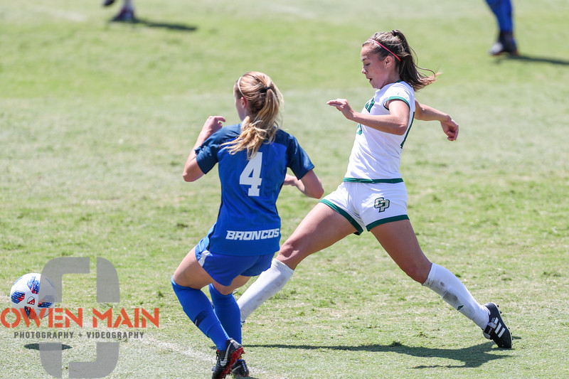 Cal Poly Women's Soccer played Boise State at Alex G. Spanos Stadium. 8/26/1811:13:02 AM <br /> <br /> Photo by Owen Main