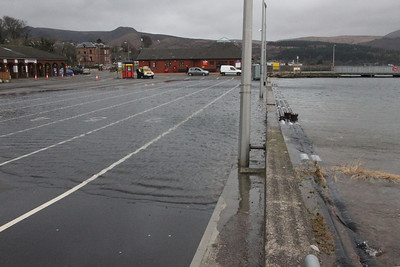 Car marshalling area an hour before high tide. 3 January 2014