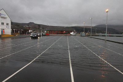 Flooded Car Marshalling area at Brodick at High Tide. 3 January 2014