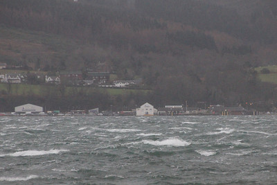 Looking towards Brodick Pier from the north side of Brodick Bay. 3 January 2014