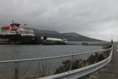 Tanker coming off MV Clansman at Brodick Pier. 3 January 2014