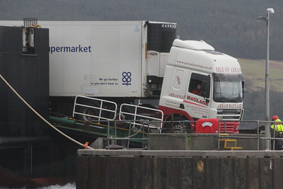 Co-op lorry coming off MV Clansman at Brodick Pier. 3 January 2014
