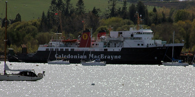MV Isle of Arran at Rosneth Peir seen from Rhu. The stern ramp of MV Saturn can be seen. 29 April 2012
