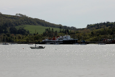 MV Isle of Arran at Rosneth Peir seen from Rhu. 29 April 2012
