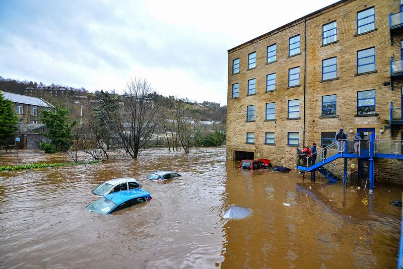 Calder Valley,  Heavy and persistent rainfall from storm Eva creates flooding at the river Calder in December 2015.