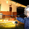 checking out a neighborhood christmas lights and train display