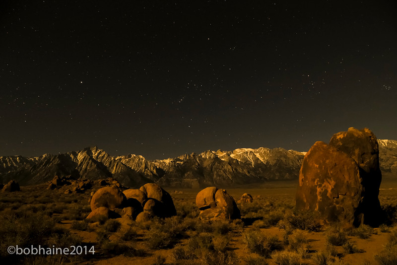 Alabama Hills below the stars and the Sierras
