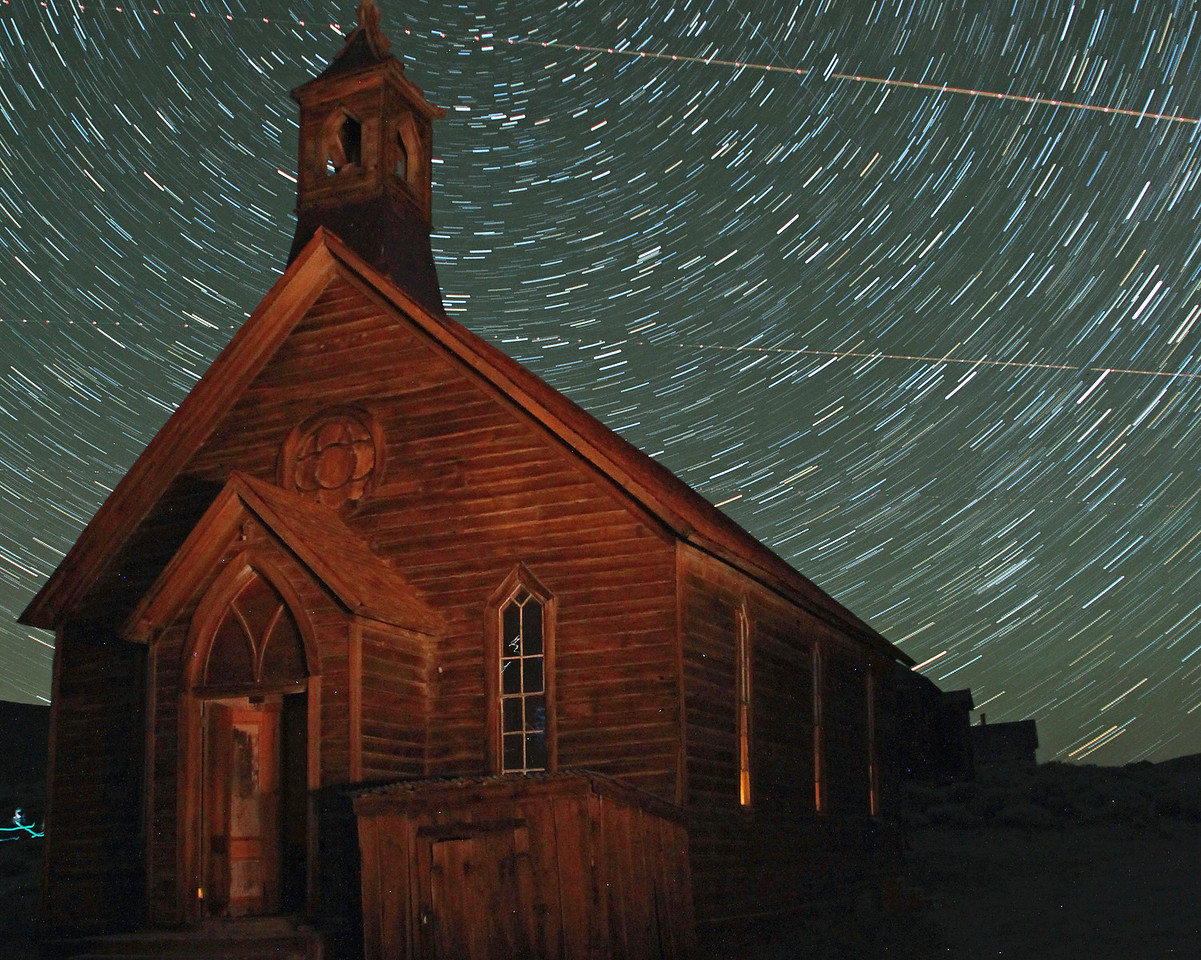 Star Trails over Bodie church
