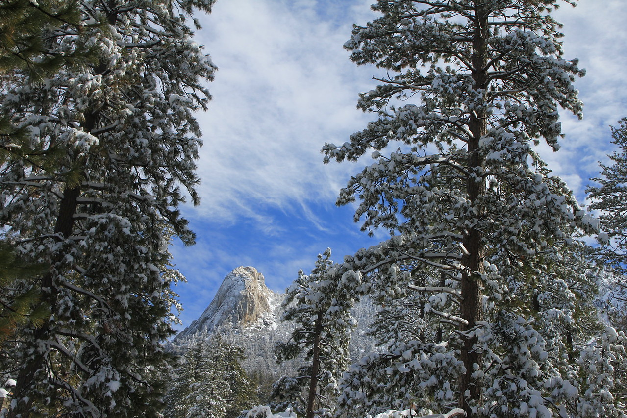 Tahquitz Rock in the snow